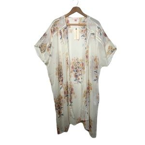 Band of Gypsies cream floral kimono M/L